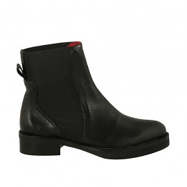 Woman's ankle boot in black leather with double elastic bands heel 3 - Available sizes:  34, 42, 43, 44, 45, 46, 47