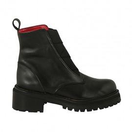 Bottines avec elastiques frontales pour femmes en cuir noir talon 5 - Pointures disponibles:  33, 34, 42, 43, 44, 45, 46, 47