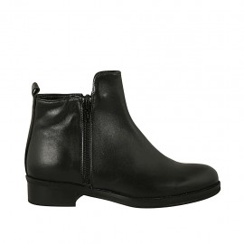 Woman's ankle boot with double zipper in black leather heel 3 - Available sizes:  33, 34, 42, 43, 44, 45, 46, 47