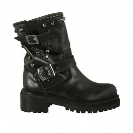 Woman's ankle boot with buckles and studs in black leather heel 5 - Available sizes:  33, 42, 43, 45, 47