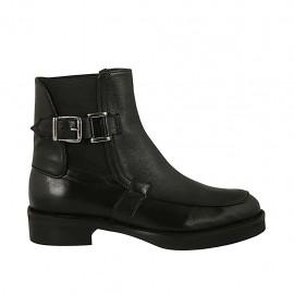 Bottines pour femmes avec elastiques et boucle en cuir noir talon 3 - Pointures disponibles:  33, 34, 42, 43, 44, 45, 46, 47