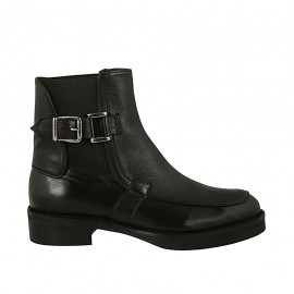 Woman's ankle boot with elastics and buckle in black leather heel 3 - Available sizes:  33, 34, 42, 43, 44, 45, 46, 47