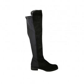 Botas para mujer en gamuza y tejido elastico negro tacon 3 - Tallas disponibles:  43, 45, 46, 47