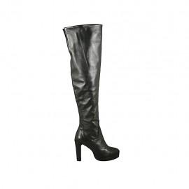 Bota para mujer con cremallera y plataforma en piel negra tacon 9 - Tallas disponibles:  31, 32, 33, 34
