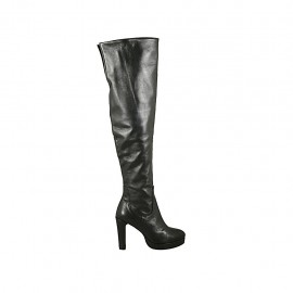 Woman's boot in black leather with zipper and platform heel 9 - Available sizes:  31, 32, 33, 34
