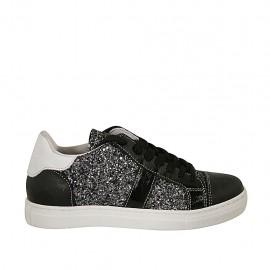 Zapato para mujer con cordones, plantilla extraible y brillos en piel blanca y negra y charol negro cuña 2 - Tallas disponibles:  33