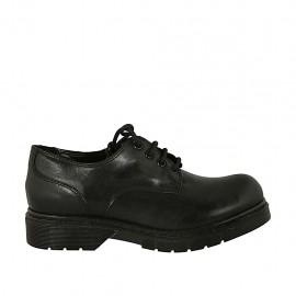 Zapato derby con cordones para mujer en piel lisa negra tacon 3 - Tallas disponibles:  34, 43, 44, 45