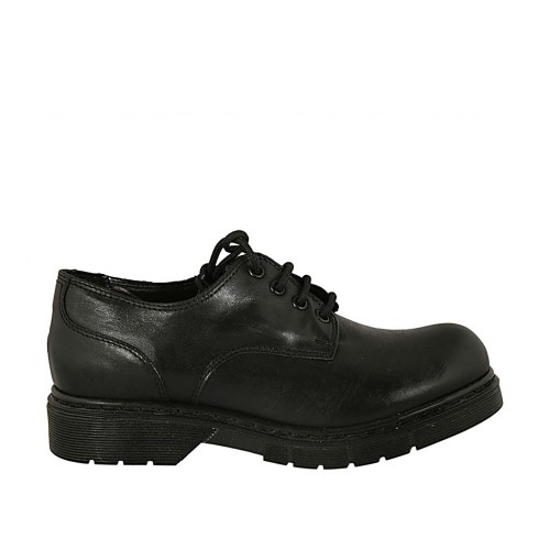 Woman's derby laced shoe in black smooth leather heel 3 - Available sizes:  34, 43, 44, 45