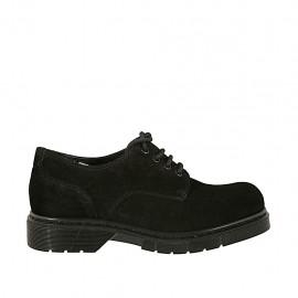 Zapato derby con cordones para mujer en gamuza negra tacon 3 - Tallas disponibles:  33, 34, 43, 44, 45