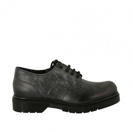 Woman's laced derby shoe in black marbled leather heel 3 - Available sizes:  33, 34, 42, 43, 44, 45