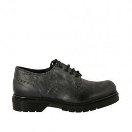 Zapato derby para mujer con cordones en piel negra con efecto marmolado tacon 3 - Tallas disponibles:  33, 43, 44, 45