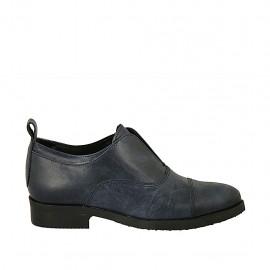 Zapato cerrado a punta para mujer en piel con efecto marmolado azul tacon 3 - Tallas disponibles:  33, 34, 42, 43, 44, 45