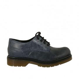 Zapato derby con cordones para mujer en piel con efecto marmolado azul tacon 3 - Tallas disponibles:  33, 34, 42, 43, 44, 45