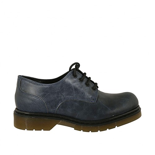 Woman's laced derby shoe in blue marbled leather heel 3 - Available sizes:  33, 34, 42, 43, 44, 45