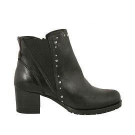 Woman's ankle boot with zipper, elastic band and studs in black leather heel 5 - Available sizes:  32, 33, 34, 42, 43, 44, 45