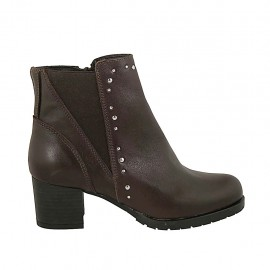 Woman's ankle boot with zipper, elastic band and studs in dark brown leather heel 5 - Available sizes:  32, 33, 34, 42, 43, 44, 45