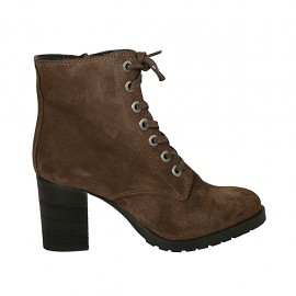 Woman's laced ankle boot with zipper in brown suede heel 7 - Available sizes:  33, 34, 42, 43, 44, 45