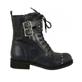 Woman's laced ankle boot with zipper, studs and buckles in blue marbled leather heel 3 - Available sizes:  32, 33, 34, 42, 43, 44, 45