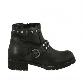 Woman's ankle boot with zipper, studs and buckle in black leather heel 3 - Available sizes:  32, 33, 34, 43, 44, 45