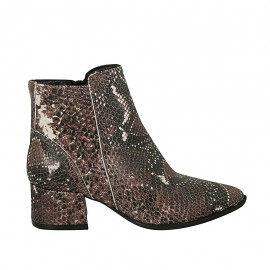 Woman's pointy ankle boot with zipper in black, brown and beige printed leather heel 4 - Available sizes:  32, 33, 34, 43, 44, 45