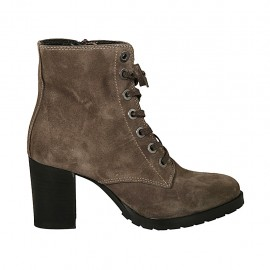 Woman's laced ankle boot with zipper in taupe suede heel 7 - Available sizes:  33, 34, 42, 43, 44, 45