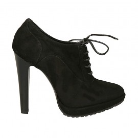 Woman's laced shoe with platform in black suede heel 11 - Available sizes:  31, 32, 33, 34, 42, 44, 45, 46, 47