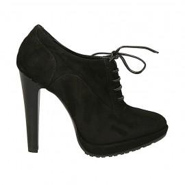 Zapato para mujer en gamuza negra con cordones y plataforma tacon 11 - Tallas disponibles:  31, 32, 33, 34, 42, 45