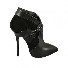 Chaussure fermée à bout pointu pour femmes avec fermeture éclair, plateforme et noeud en cuir et daim noir talon 11 - Pointures disponibles:  31, 32, 33, 34, 44, 45, 46