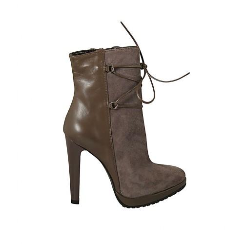 en venta 25552 48323 Botines con cordones, cremallera y plataforma en piel gris pardo y gamuza  gris perla tacon 11