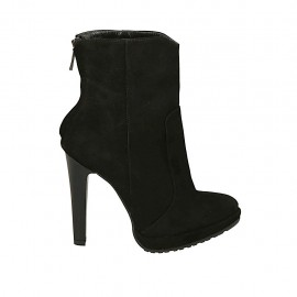 Woman's ankle boot in black suede with backside zipper, platform and heel 11 - Available sizes:  31, 32, 33, 34, 43, 44, 45, 46, 47