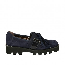 Woman's laced highfronted shoe with elastic band and studs in blue suede and patent leather heel 3 - Available sizes:  34, 43