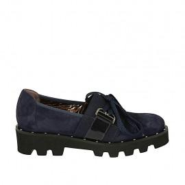 Zapato con cordones, tachuelas y elastico para mujer en gamuza y charol azul tacon 3 - Tallas disponibles:  34