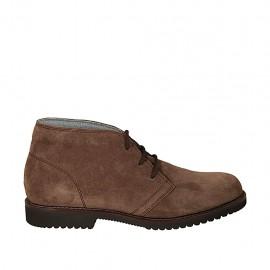Zapato deportivo para hombre alto al tobillo en gamuza gris pardo - Tallas disponibles:  37, 38, 46, 47, 48, 49, 50