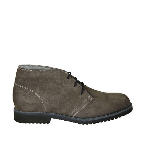 Men's laced shoe in grey nubuck leather - Available sizes:  37, 38, 46, 47, 48, 49, 50