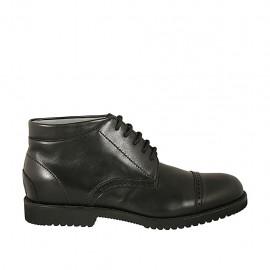 Chaussure sportif pour hommes avec lacets et bout droit en cuir noir - Pointures disponibles:  37, 38, 46, 47, 48, 49, 50