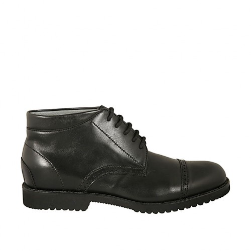 Men's sportive laced ankle shoe with captoe in black leather - Available sizes:  37, 38, 46, 49, 50