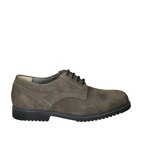 Men's laced shoe in grey nubuck leather - Available sizes:  37, 46, 47, 48, 49