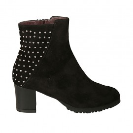 Woman's ankle boot with zipper, removable insole and studs in black suede heel 5 - Available sizes:  32, 34, 43, 44