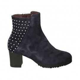 Woman's ankle boot with zipper, removable insole and studs in blue suede heel 5 - Available sizes:  32, 33, 34, 42, 43, 44