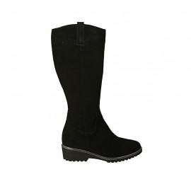 Botas para mujer con cremallera y plantilla extraible en gamuza negra tacon 4 - Tallas disponibles:  31, 32, 33, 34, 42, 43, 44