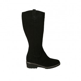 Woman's boot with zipper and removable insole in black suede heel 4 - Available sizes:  31, 32, 33, 34, 42, 43, 44