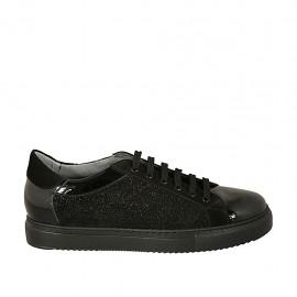 Chaussure à lacets avec semelle amovible pour femmes en daim, cuir verni et tissu scintillant noir talon compensé 3 - Pointures disponibles:  43