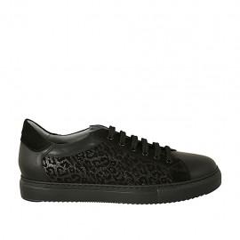 Zapato con cordones y plantilla extraible en piel, gamuza y gamuza moteada negra cuña 3 - Tallas disponibles:  43, 44, 45