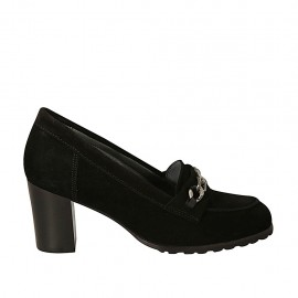 Woman's highfronted shoe with chain in black suede heel 6 - Available sizes:  32, 33, 34, 42, 43, 44, 45, 46