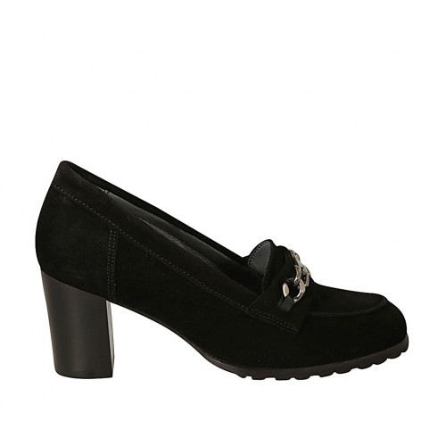 Woman's highfronted shoe with chain in black suede heel 6 - Available sizes:  32, 33, 34, 42, 43, 44, 45