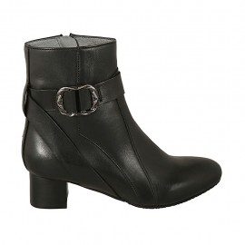 Woman's ankle boot with buckle and zipper in black leather heel 4 - Available sizes:  32, 33, 34, 42, 43, 44, 45, 46
