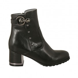 Woman's ankle boot with zipper, buckle and studs in black leather with chrome plated heel 5 - Available sizes:  33