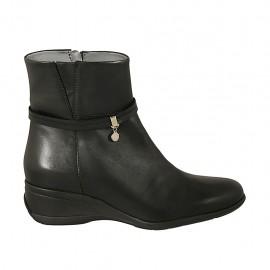 Damenstiefelette mit Reißverschluss und Riemchen aus schwarzem Leder Keilabsatz 5 - Verfügbare Größen:  43