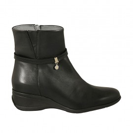 Woman's ankle boot with zipper and strap in black leather wedge heel 5 - Available sizes:  43