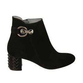 Woman's ankle boot with zipper and accessory in black suede heel 5 - Available sizes:  33, 34